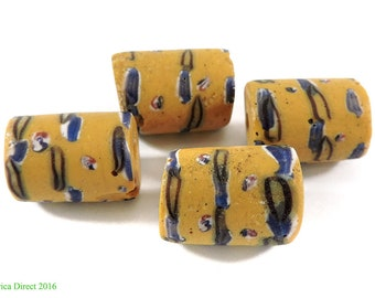 4 Yellow Venetian Trade Beads Africa Loose 109054