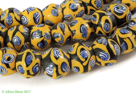 Baby King Venetian Trade Beads Black Yellow African 35 Inch FINE 117314
