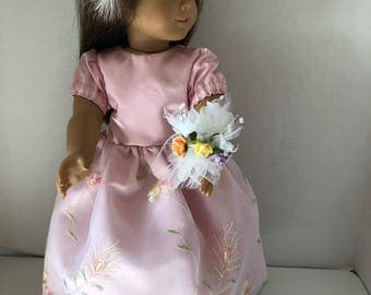 """Pink Satin Formal Long Dress with Headpiece and Flower Bouquet for 18""""American Girl Doll"""