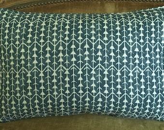 Big! Single Carolina Irving Handprinted Linen Fabric Custom Designer Throw Pillow Amazon Blue Beige New 1