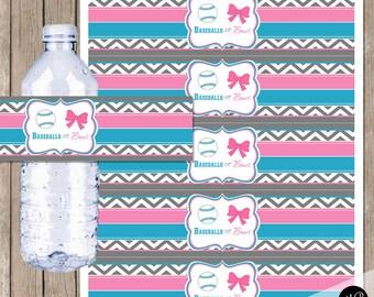 Gender reveal party Baseballs or Bows Water Bottle labels printable INSTANT DOWNLOAD Gender Reveal Water Bottle Labels Printable