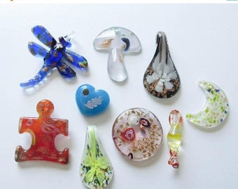 On Sale Glass Pendant Lot Mushroom Flower Heart Dragonfly Puzzle Piece Destash Glass  Jewelry Supply