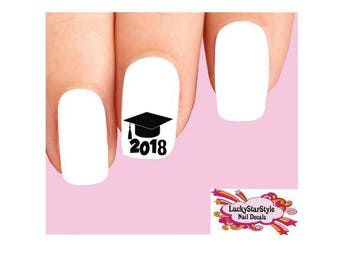 Graduation nail art etsy waterslide nail decals set of 20 graduation 2018 prinsesfo Image collections