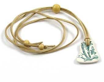 BOHO Beach Pottery| | Faux Suede Long Necklace | Adjustable Necklace | Beach Jewellery | Sea Pottery Jewellery | Surfer Jewellery