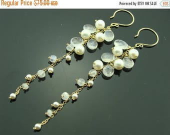 Long Moonstone and Pearl 14K Gold Filled Earrings
