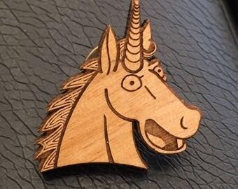 If Lisa Simpson had a Unicorn - Original Art- Engraved Wood Pin / Magnet