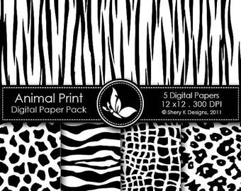 40% off Printable Animal Print Paper Pack 1 - 5 Printable Digital papers - 12 x12 - 300 DPI