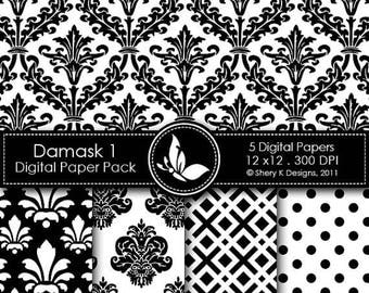 40% off Printable Damask Paper Pack 1 - 5 Printable Digital scrapbooking papers - 12 x12 - 300 DPI
