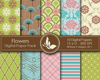 40% off Flowers Paper Pack - 10 Printable Digital Scrapbooking papers - 12 x12 - 300 DPI