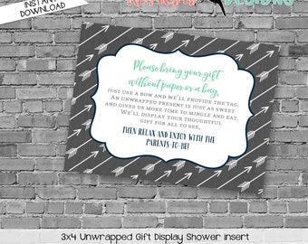 Display shower insert Unwrapped gift enclosure card Baby shower invitation gender neutral Rustic baby boy shower   12120 katiedid designs
