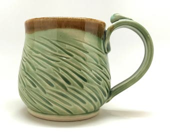 Green Grass Pottery Mug READY TO SHIP