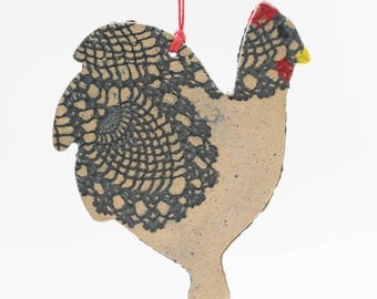 Chicken Ornament, Handmade Pottery Ornament, Lace Chicken