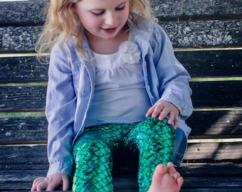 Girls Mermaid leggings Baby Toddler Emerald Green & Black metallic Birthday fish scale pants 3 6 12 18 24 months 2T 3T 4T 5T 6 7 costume