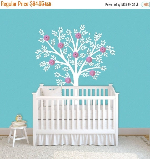 SALE White Tree Wall Decal  Nursery Children Decor Art Baby Kids Vinyl Wall Sticker