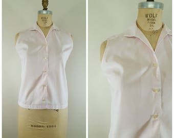 Vintage 1950s Sleeveless Blouse / Pink Cotton Blouse / Tank Top / Medium
