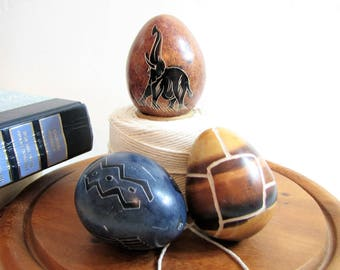Soapstone Eggs, Hand Carved African Art, Vintage Set of 3 ... Elephant, Giraffe Pattern, Symbols, Natural Stone Eggs, Tribal, Safari Decor