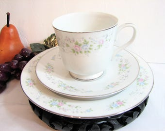 Vintage Teacup Trio, Carlton China Japan CORSAGE Cup, Saucer, Dessert Plate ... Dainty Pastel Pink and Blue Floral on White, Silver Rimmed
