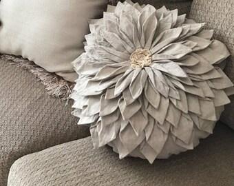 Mandala inspiration Medallion lotus flower pillow round square white toss pillow boho shabby chic linen bedding bohemian decorative pillow