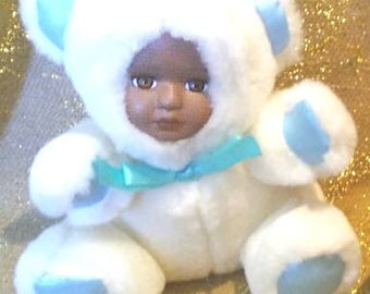 """Bubbles a 5"""" musical white and blue plush teddy bear with African American porcelian face"""