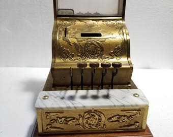 Vintage Ornate Gold National Style Cash Register Bank Model WORKS