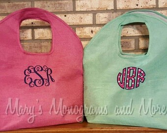 FREE SHIPPING - Embroidery Monogrammed Jute Beach Bag - Personalized Tote Bag