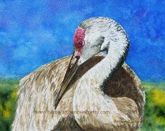 Bird Art Print, Beach Bird Art, Sandhill Crane Painting, Sandhill Crane Watercolor, Beach Decor Wall Art, Coastal Art, Crane Art,Crane Print