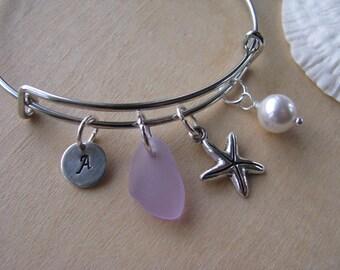 Purple sea glass bracelet  adjustable purple bridesmaid bracelet starfish jewelry letter charm beach wedding personalized bridesmaid gift