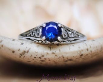Dainty Blue Sapphire Promise Ring - Sterling Silver Victorian-style Sapphire Engagement Ring - September Birthstone Ring - Sapphire Ring