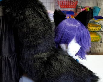 Shadow Black Wolf Tail with Matching Ears Set