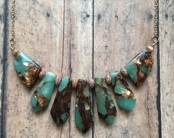 Aventurine and bornite necklace