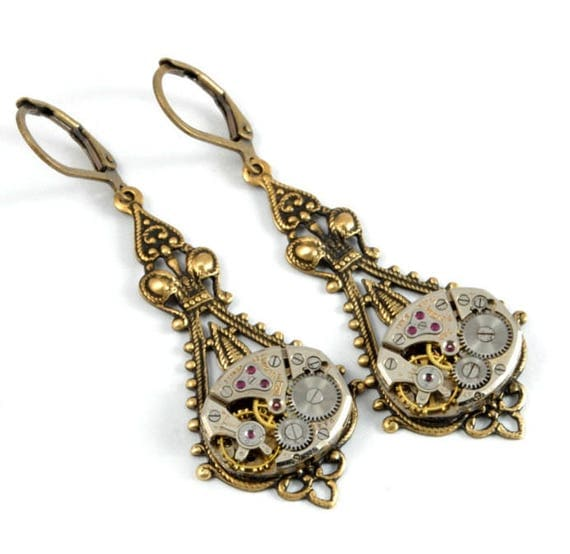 Steampunk Earrings Steampunk Watch Earrings Drop Dangle Earrings Antique Brass Steampunk Wedding Steampunk Jewelry by Victorian Curiosities