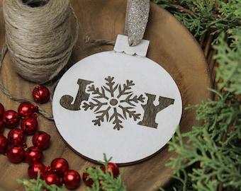 Joy - Snowflake - Christmas - Round - Ornament - for Rustic, Farmhouse, Boho, Primitive Styles