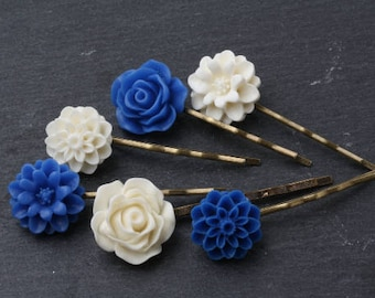 Blue and white hair pins set, Royal blue hair pins, blue wedding hair accessories, bridesmaid gift, blue flower girl gift, royal blue
