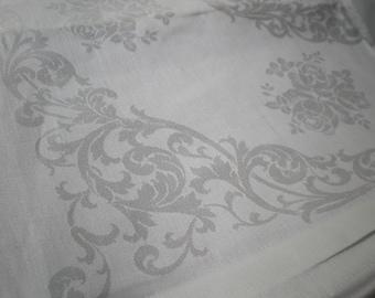 Vintage Set of 12 Uncut Damask Irish Linen Napkins