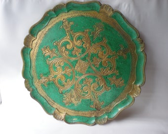 Vintage Green and Gold Florentine Tray