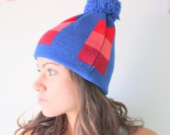 1980s NOS New Old Stock Beanie..hat. pom pom. unisex. colorful. red blue. retro. 1980s. hipster. urban. surf. hippie. 1970s. geometric. ski.