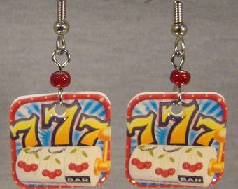 Slot Machine Dangle earrings- Casino Gambling jewelry - Lucky 7's jewellery