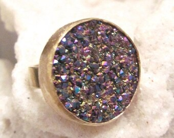 SUMMER Sale SALE Sparkle Titanium Druzy Ring set in a gold Finish