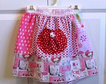 SALE Kid's Apron Girl's Love Themed Half Apron with pinks, white, and reds hearts