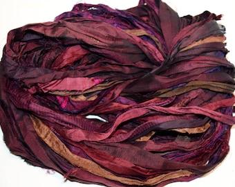Recycled Sari Silk Ribbon Yarn Burgundy Brown multi color, 65 yards,3.5 oz / 100 grams