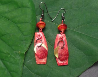 Orange Red Earrings with shells, beads, and wire