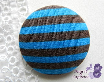 Button striped blue and brown, 40 mm / 1.57 in diameter