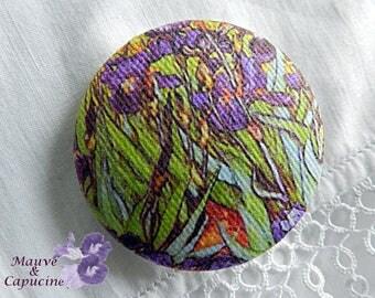 Van Gogh Fabric Button The Iris, 0.94 in / 24 mm in diameter