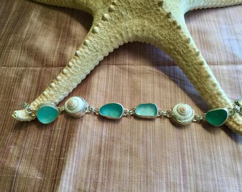 Seaglass and shell Sterling silver bracelet