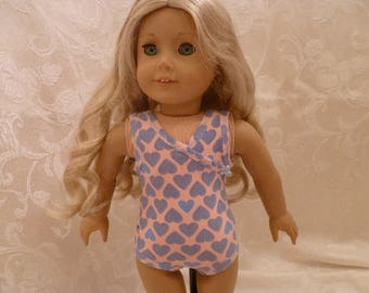 18 Inch Doll Peach Tank Style Bathing Suit with Gray Hearts for American Girl Dolls