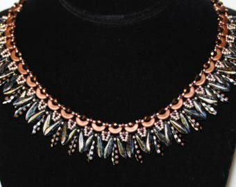 Necklace,Beadweaving Ruffles Necklace,Copper Dot Daggers,Arcos,Bronze Fire Polish,Statement Necklace,jewelry,Amy Johnson Designs NX1535