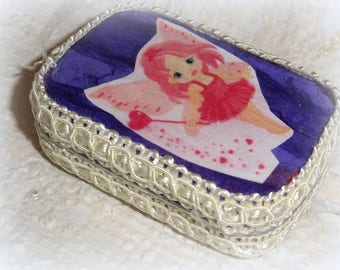Tooth Fairy Box, Toothfairy box, Altered Altoid Mini Tin, Purple, Pink, Baby Shower Gift, Baby Teeth Keeper, children, childs