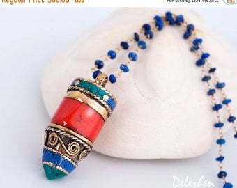 40 OFF - Boho Tribal Coral Horn Tusk Tooth Necklace - Tibetan Horn Pendant - Statement Necklace -  Wire wrapped Lapis Necklace - Bohemian Je