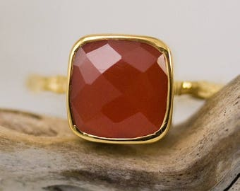 40 OFF - Orange Carnelian Ring Gold - Cushion Solitaire Ring - Gemstone Ring - Gold Ring - Bezel Set Ring