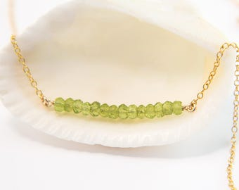 Natural Peridot Gemstone Bar Necklace, August Birthstone Layering Necklace, Delicate Choker, Tiny Gemstones, Minimal Necklace, 14k Gold Fill